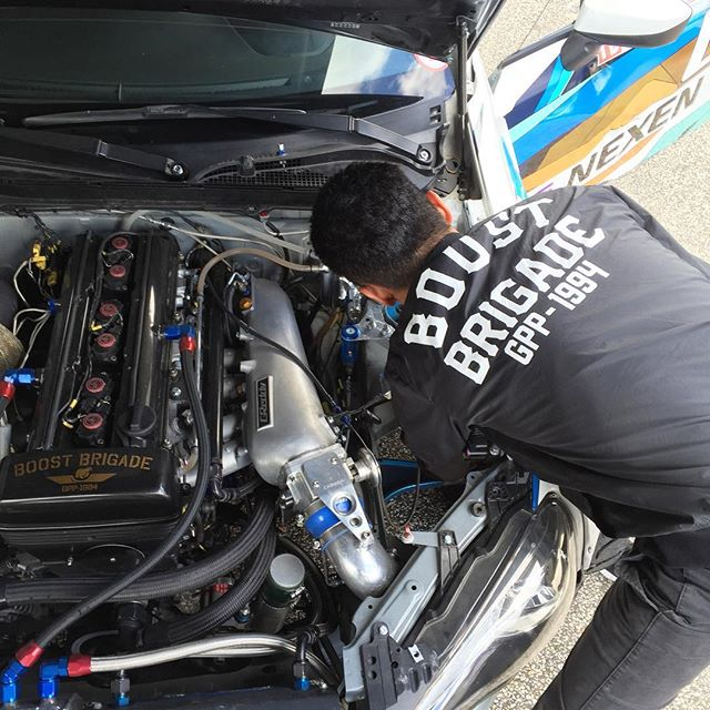 We are here at for Thursday practice. Our driver, @kengushi making some @kw_suspension adjustments for the high speed course... @greddyracing @BOOST_BRIGADE