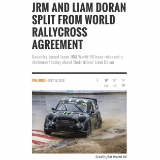 "BREAKING DERP NEWS: JRM World RX Team Principal, James Rumsey explained, ""The agreement with the team has been terminated. This is an internal matter and no further comment will be made at this stage."" ••• #puteminacoffin #⚰ #RIP #liamdoran #futuretescomanager #paperorplastic #flawlessvictory"