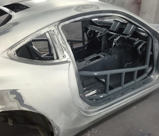 Later gram. Just got a ton of rad pics from @2m_autowerks during there prep and paint process on the #GT4586 a couple weeks ago. They shot this fresh off the interior spray. East coast gray.  #RT411 @gumout @huddyracing @donutmedia @bcracingna @vibrant_performance