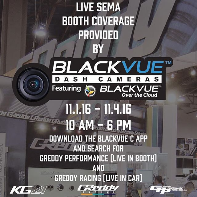 "Thanks to the @blackvueofficial you can people-watch live from our booth # 20671.  Just download the free app and watch show goers ""ooh"" and ""ah"" over our @boost_brigade RB26 powered R32 sedan as well as new GReddy meter.  It's coming straight off a plane from Japan, just for SEMA2016"