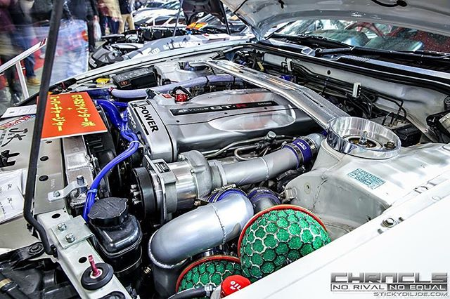 The silver bullet of engines. RB26 equipped with a HKS Supercharger and breathing right with a pair of HKS filters!