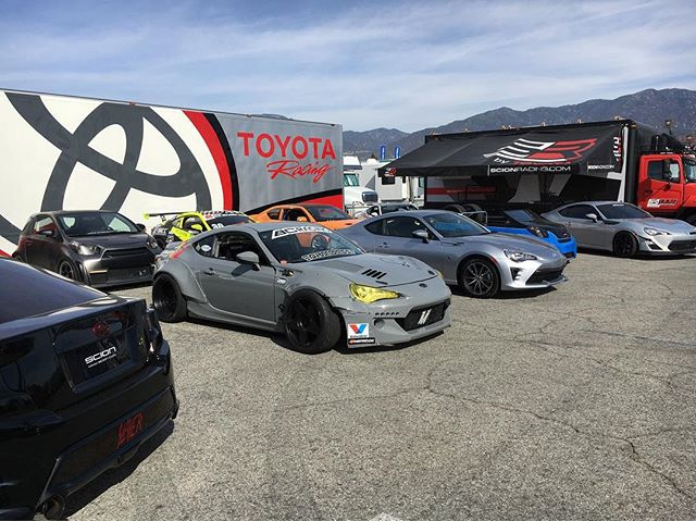 in a sea of @scion's here at @formulad Irwindale Speedway. Come check it out at the Scion area when the gates open up.