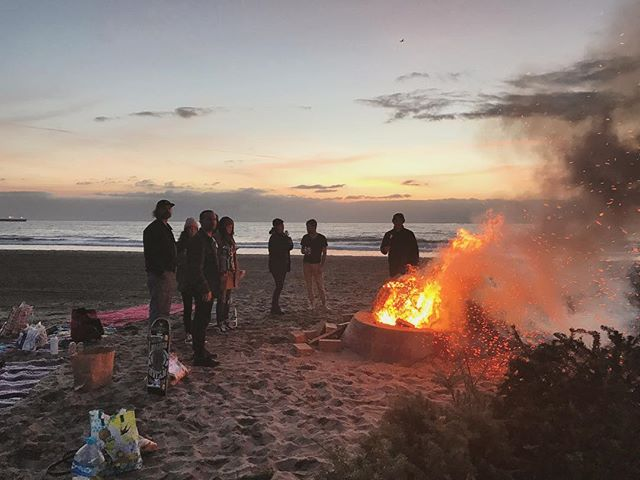 Awesome way to start the year, bonfires with Christmas trees on the beach with a solid group of friends.