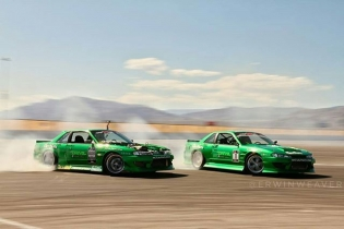 Fbf to @forrestwang808 and @garretnuts competing in @vegasdrift proam back in 2012. photo @erwinweaver #GetNutsLab #twincars #coupelife #jzpowa #dishwheels #vskfs