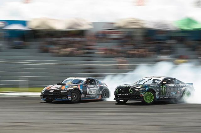 Running away from a monster! @vaughngittinjr 's Mustang makes my @nissan 370Z look small!
