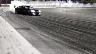 Running the wall at Irwindale in my refreshed M56! I get so happy every time I drive this car! #LaFlamaNegra : @amdrift