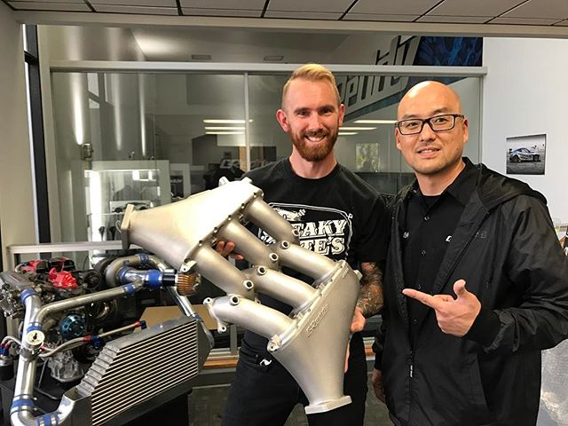 Stopped by @greddyracing to pickup the icing on the cake of my new VQ engine build! This GTR upper intake will replace the factory plastic manifold for maximum boost!!! It also comes with 6 more injector bosses for our additional @deatschwerks injectors to flow enough @vpracingfuels to make 1000+hp!