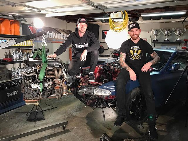 Day one of Drift Garage is a wrap! @ryantuerck and I got the turd in the bay and pulled the motor out. Time to clean it up and prep for upgrades! on @networka is brought to you by @valvoline and @donutmedia