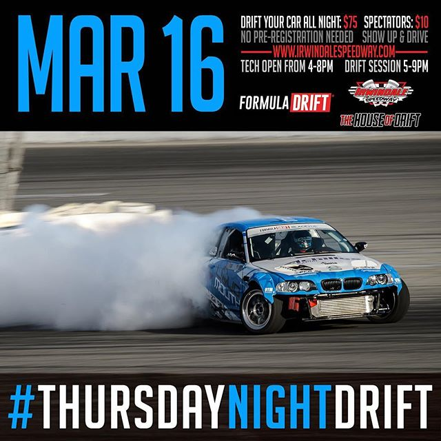 Next week, Thursday night drift at Irwindale Speedway will feature the Long Beach course to run!  Come see some pro drivers shake down there car