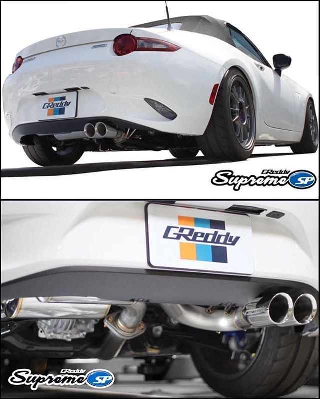 The 1st batch of exhausts arrive later this month.  Pre-order your axle-back system now!  We also will offer a full system with mid-pipe. Contact your favorite Authorized GReddy Dealer or see #ShopGReddy.com for more details and a sound-clip...