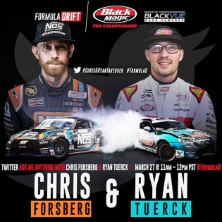 Tune in next week Monday March 27, @chrisforsberg64 & @RyanTuerck will be doing a AMA here on the Formula DRIFT Twitter account! #formulad #fdlb #formuladrift