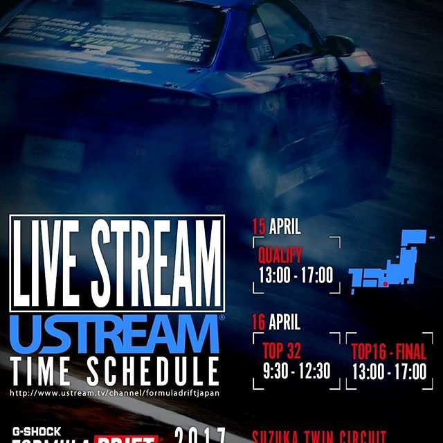 FORMULA DRIFT JAPANは今年もリアルタイムストリーミングを行います。 スポーツは現場で観戦するのが一番ですが、どうしてもサーキットに来れない方は是非ストリーミングでお楽しみください  JAPANESE Commentary http://www.ustream.tv/channel/formuladriftjapan  ENGLISH Commentary http://formulad.com/live  Live Streaming Time Schedule ●Qualify 15 APRIL 13:00 - 17:00 ●TOP32 16 APRIL 9:30 - 12:30 ●TOP16 - Final 16 APRIL 13:00 - 17:00  予告なく配信時間が変更になる場合があります。ご了承ください。