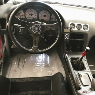 Missile car cockpit. Only the essentials. Screw driver is the ignition key. This car still has full factory chassis harness. Kind of nice having some of the simple things working. #RT411