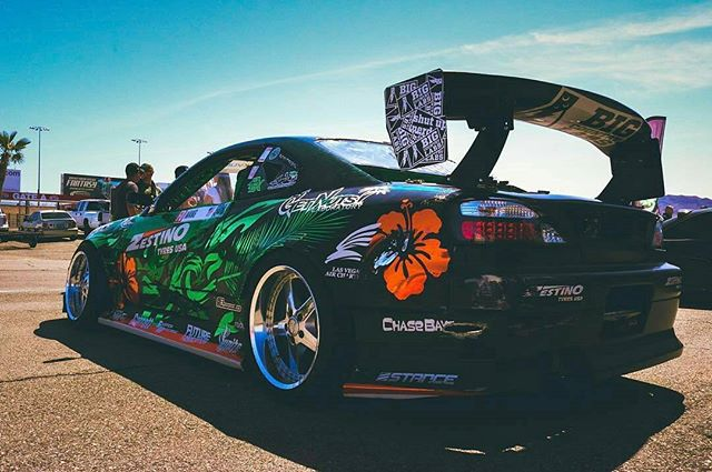 Nice booty shot of the s15 at the last @vegasdrift event sporting that @lasvegasaircharters bird on the quarter panel.  Photo @swellyj