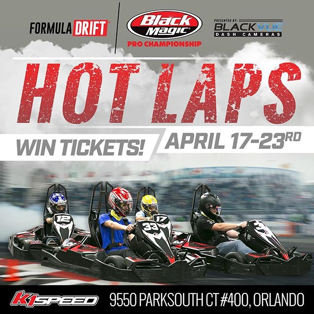 Stop by the @k1speed in Orlando, FL this week only for a chance to WIN Formula Drift Orlando Round 2 tickets!