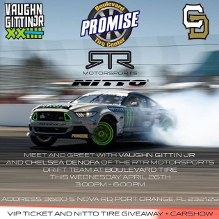 Tomorrow (Wed - 4/26) from 3pm - 6pm at Boulevard Tire Center, @vaughngittinjr and @chelseadenofa will be on-site, hanging out with their FD pro cars and also have a VIP ticket and @nittotire giveaway. Additionally, exclusive to users of the FD app, come on by and take a photo, post it on social media with the hashtag #RTROrlando and #FDorlando and you will be automatically entered to win a FD merch package. Make sure to download the FD APP! The best photos wins! Be creative