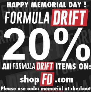 "All #formuladrift items are on sale on shopfd.com | Use code ""memorial"" at checkout."