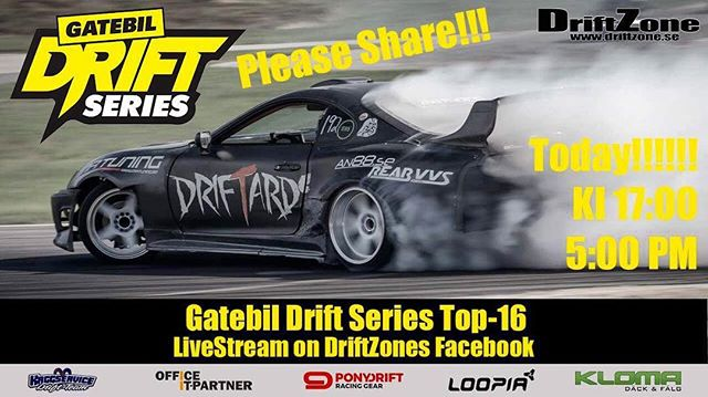 Check out the DriftZone livestream of the @gatebil_official Drift Series Top 16! It will be streamed on the DriftZone Facebook page. 5pm local time, 11am EST, 8am PST.