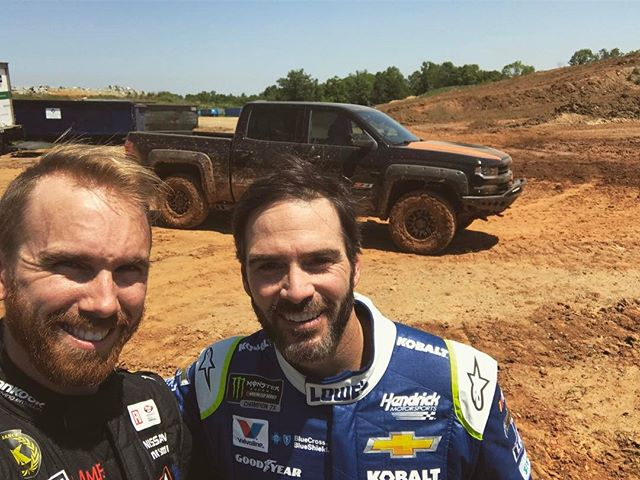 Getting rowdy today with 7 time @nascar champion and all around great guy @jimmiejohnson! @valvoline cut us loose in our recently built truck and it is still in one piece! Thanks to everyone involved with the project, this thing is a blast.