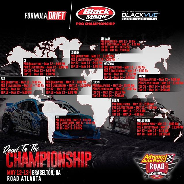 Livestream times for today's @formulad Atlanta Pro competition!