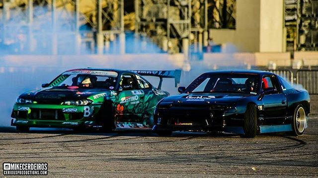 Tandem action with @steezyweaver early on at the last @vegasdrift event. Cant wait to get back out there!  @mikecerdeiros