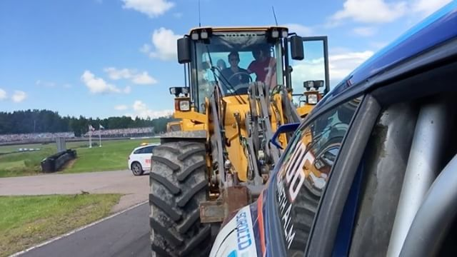 Went for a ride with @kennethalm today in his Audi inline 5 cylinder 850hp AWD Scirocco at @gatebil_official Mantorp. Then we both went for a ride on the big recovery loader when his head gasket gave up.