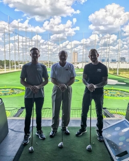 The one and only Larry McReynolds making @ryantuerck and I look bad at Top Golf! Good times at the ITW Days with the @blackmagicshine team here in Houston! #LarryMcReynolds #NASCARlegend