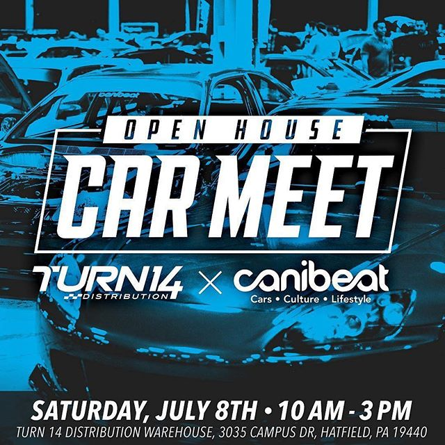 Who's going?? I am‍♂️ @turn14 ・・・ The countdown begins! July 8th, Turn 14 Distribution will be hosting our first ever Open House Car Meet at our new 234,000 sq. ft. warehouse in Hatfield, PA! We're teaming up with @canibeat_crew to bring you a one-of-a-kind event you won't want to miss. Food trucks, live music, and some of the industry's leading vendors. Get your ride (Domestic, Truck, Euro, or Sport Compact) ready and we'll see you there!