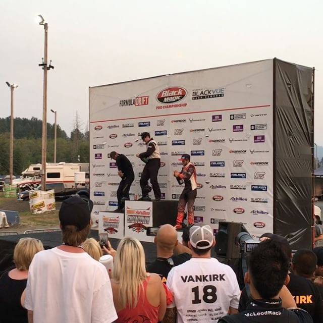 Congrats to @mattvankirk18 in 1st, @dylanhughes129 in 2nd and @dirk_stratton in 3rd at @formulad Pro2 Seattle. It's a bitch when that champagne bottle won't open!