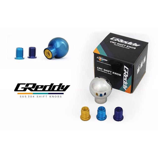 304 Stainless steel counter-weighted s.  Available in SUS polished or Anodized-Blue. Each kit now includes a threaded insert to fit (most = M10xP1.25 Yellow), (most = M10xP1.5 , Teal) & (most = M12xP1.25 Blue). See #ShopGReddy.com for more details....