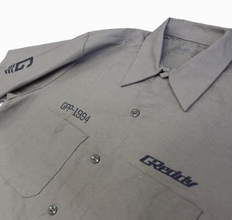 New color!  Grey / Navy-blue print Mechanics button-up work shirt.  See #shopgreddy.com or visit us at our Aug.19th.