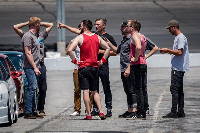 """Organizing the next shot with the @driftfaction @lockcitydrift_ dudes at @thompsonspeedway for the @gumout x @donutmedia """"streetCar"""" shoot. 🏼♂️🏼♂️🏼♂️🤷🏼♂️ rad times 🤘🏼"""