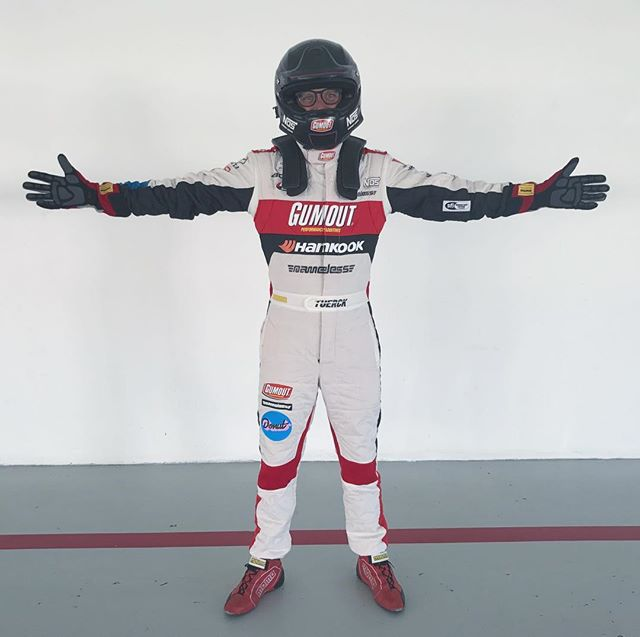 Rocking the brand new @momomotorsport Corsa EVO suit today for some set filming. It's lighter and breathes more which is nice in this 105 degree climate I'm currently in 😎🌞.