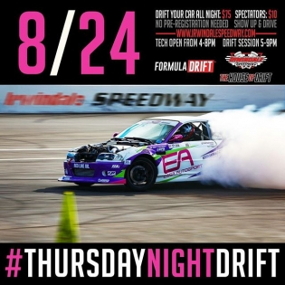 This Thursday August 24 at @irwindale_event_center join us for #thursdaynightdrift! Drift your car all night for $75 or spectate for $10 #formulad #formuladrift