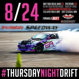 This Thursday August 24 at @irwindale_event_center join us for #thursdaynightdrift! Drift your car all night for $75 or spectate for $10 #formulad #formuladrift