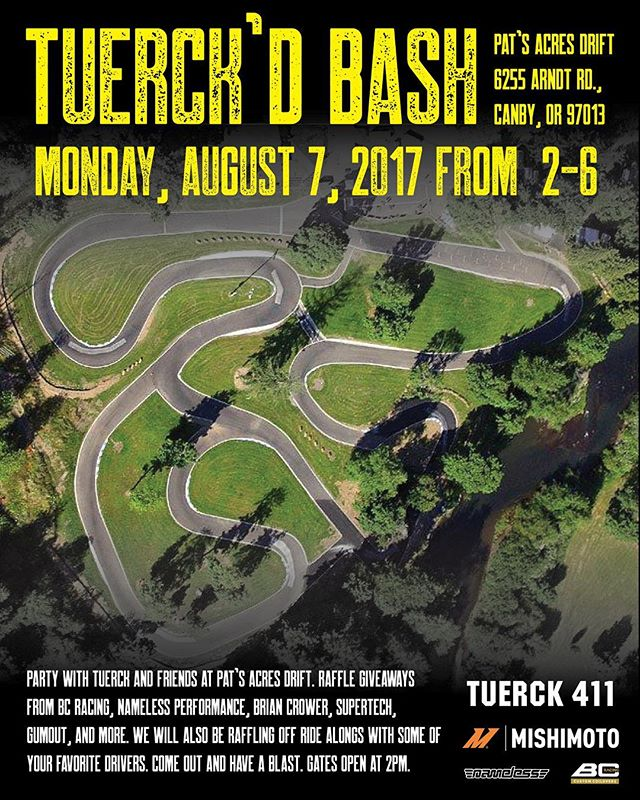 Tuerck's bash is here. We are busy setting up and getting the raffle ready. Hope to see a ton of you here. The drivers list has grown and it's gonna get nuts. Come check out the action at @parcdrift.