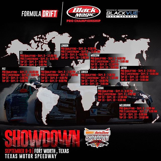 Formula Drift Texas @txmotorspeedway is going down today at 12:30pm CST.  Watch all weekend on www.formulad.com/live @autozone