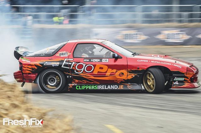 Had a great weekend in Ireland for the with @chrisforsberg64. My first time ever driving a turbo rotary FC and it was sick! 🤘🏼 Love driving new setups especially when they work proper. I did unfortunately break the gear box in typical fashion taking me out of the competition on day 2. Forsberg carried the torch to finals taking home the W 🏼. Great times driving and even greater times having a crack with new friends. Cheers till next year