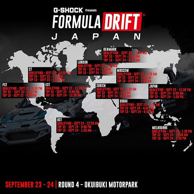 Livestream times for @formuladjapan this weekend!