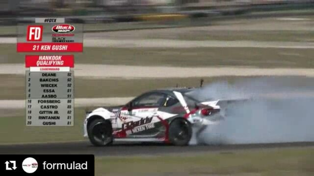 Repost @formulad ・・・ The GUSH is LOOSE at @kengushi scores a 89 on run 2