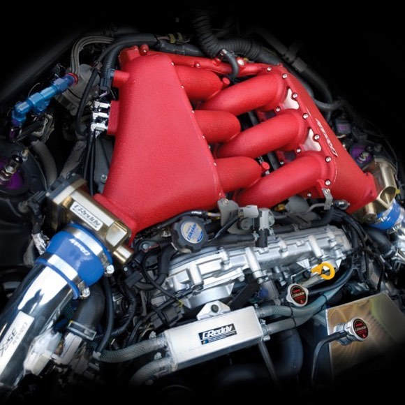 The heart ️ of the beast - GReddy high volume Intake Manifold and Billet Throttle Bodies.  For 6 injectors or 12 injectors