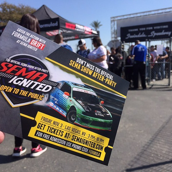 Come to Formula Drift at Ignited in Las Vegas. SEMA Ignited The Official Afterparty for Formula Drift November 3rd in Las Vegas. Gates open at 3pm. @semashow  Use coupon code FORMULA at www.semaignited.com for a free ticket.