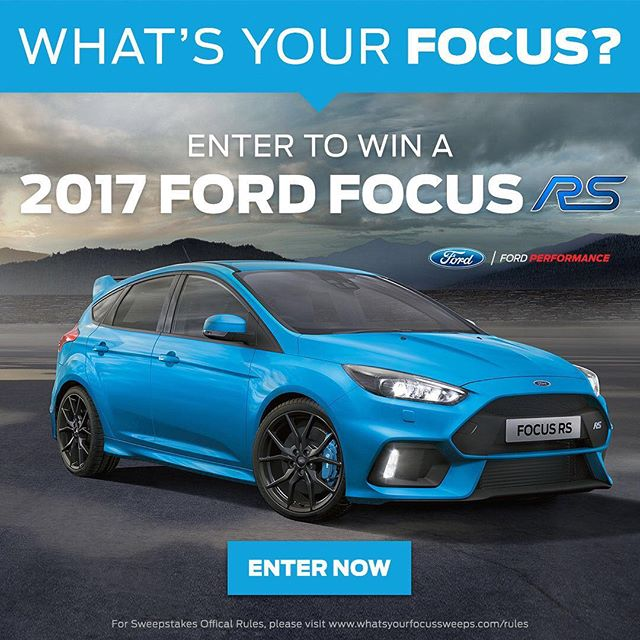 One lucky winner will win a 2017 @fordperformance Focus RS!  Here's your shot to be a part of the action.