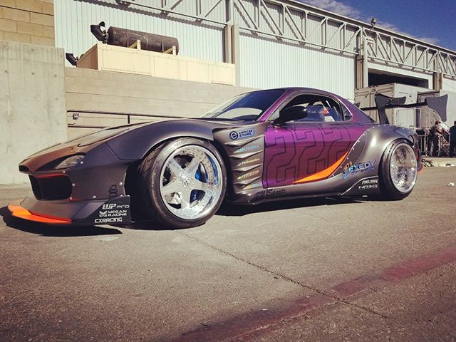 Our new burning  twin turbo, wide body FD3S RX7 sitting in staging. Hyper twin disk clutch, gauges