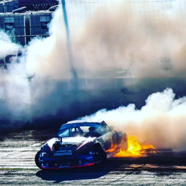 Probably one of the most epic shots of my carrier. Yes so much rotary rpm we lit the tire off like an old drag car. Drifting is bad ass!!! @americanethanol @exedyusa @top1oilusa @built2apex @d3vportrait_d_t(@repost_via_instant)Hands down @kylemohanracing has one of my favorite cars in Formula D his car is set apart from every one else since he's the only rotary guy in the 2017 FD season dominated by inline sixes and V8!
