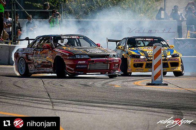 Repost @nihonjam ・・・ Kamiya-san's awesome R32 and @kazuya_taguchi 's bright S15.