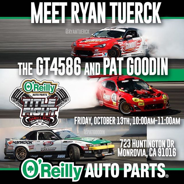 Tomorrow come meet @ryantuerck with the and @patgoodin from 10:00 AM - 11:00 AM at the @oreillyautoparts  Monrovia Store  723 Huntington Drive Monrovia, California 91016