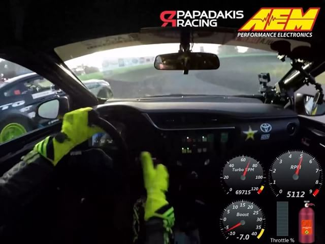 Here's some pretty cool insight into what's going when chasing @vaughngittinjr. Check out the gauges on the right courtesy of @aemelectronics and join in for a ride!  @stephpapadakis @rockstarenergy @toyotaracing @nexentireusa