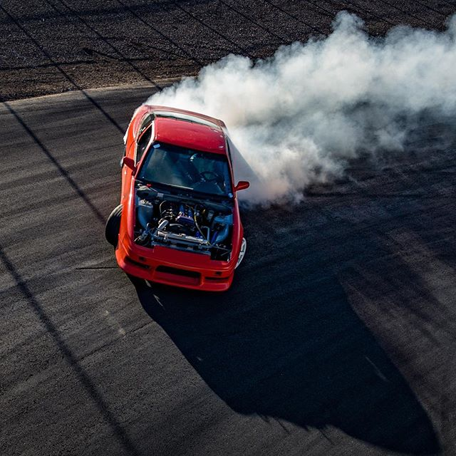 My brother @evantuerck shredding at @lockcitydrift_  running that hoodless steez (not on purpose) in his SR powered 240. 📸 @robchuladaphotography