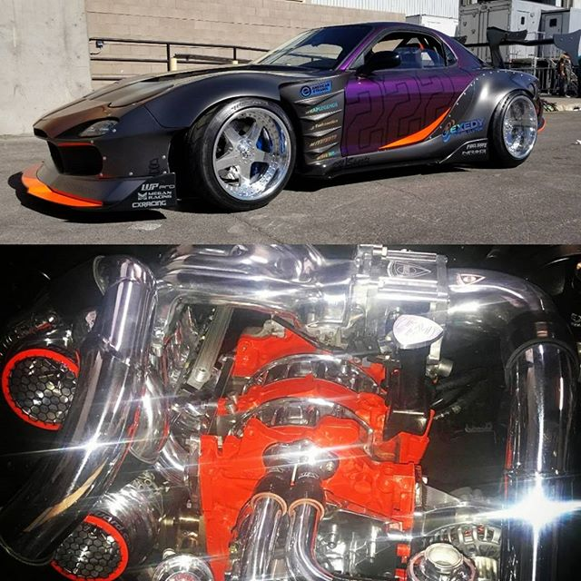 Sema build. love this burning twin turbo monster.  More info coming soon!   #fuelsafe